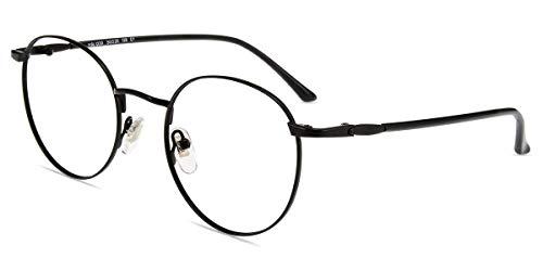 Firmoo Lesebrille 3.0 Damen Sehhilfe mit Blaulichtfilter, Anti Blaulicht Computerbrille mit Sehstärke, Schwarze Runde Lesehilfe Lesebrille Herren für PC/Handy/Fernseher