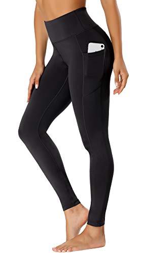 FASHION BOUTIQUE Beelu Damen Leggings Lange Yoga Pants Blickdicht Hohe Taille Fitnesshose mit Taschen,XS, Schwarz