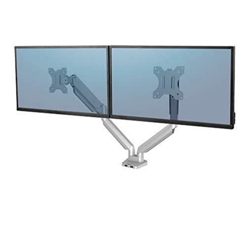 Fellowes Monitorarm für 2 Bildschirme bis je 32 Zoll (81,28 cm), Platinum Series, mit Gasfeder, USB Ports, Klemme, Silber
