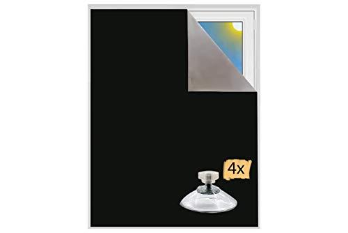 Verdunklungsstoff incl. Saugnäpfe Sonnenschutz Blackout Thermobeschichtet Meterware für Fenster und Türen verdunkelnd lichtundurchlässig Velux Dachfenster (Schwarz mit Saugnäpfen)
