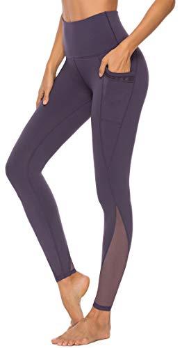 Persit Yoga Leggings Damen, Sporthose Yogahose Sport Leggins Tights für Damen, 34W / 36L (Herstellergröße S), Violett