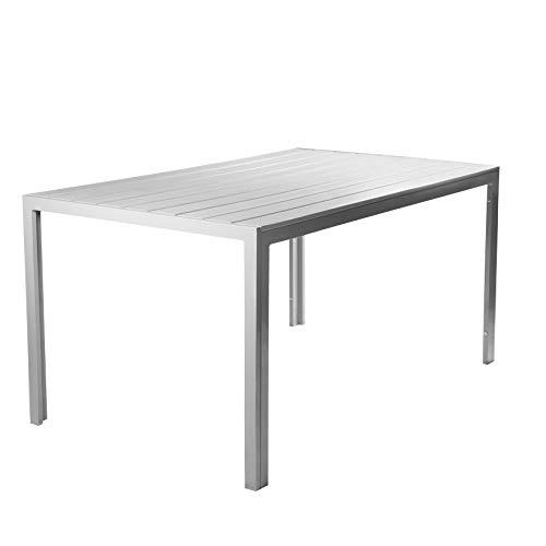 Vanage VG-5159 Polywood Aluminium Gartentisch, 150x90cm, Silber