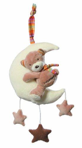 Fehn 160185 Spieluhr Teddy im Mond / Aufzieh-Spieluhr mit waschbarem Spielwerk - Melodie