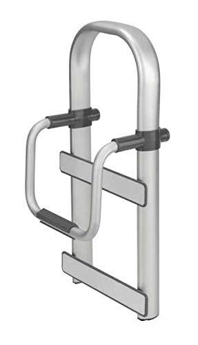 WENKO Badewannen-Einstiegshilfe Secura Premium - Wannengriff, verstellbar, bis 150 kg belastbar, Aluminium, 25.5 x 51 x 17.5 cm, Silber matt
