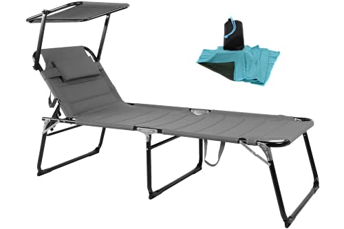 WildStage Aluminium Sonnenliege XXL klappbar mit Dach bis 150 kg Klappliege 5-Fach verstellbar Dreibeinliege Gartenliege extra hoch mit Sonnendach 200x70x45 cm in grau