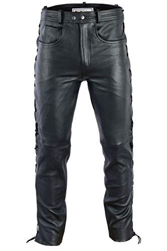 Radmasters Herren Lederhose lederjeans bikerjeans jeans hose aus echtleder seitlich geschnürt, 52/L, Schwarz