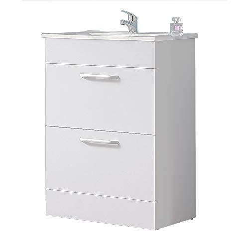 Aica Sanitär Waschtisch mit Unterschrank 60 cm Badezimmer Möbel Set Waschkommode Badschrank Standschrank Weiß