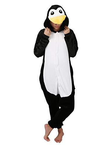 Jumpsuit Tier Karton Fasching Halloween Einhorn Kostüm Sleepsuit Cosplay Fleece-Overall Pyjama Schlafanzug Erwachsene Unisex, Pinguin, XL(Höhe:175-184CM )