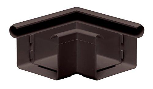 Rinnenwinkel 90° kastenförmig Wulst außen INEFA Dunkelbraun NW 68, Kunststoff, Verbindungsstück, Dachrinne- Zubehör für Gartenhaus