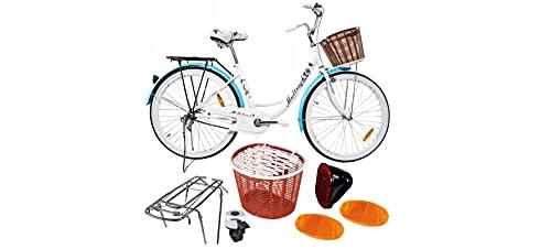 BDW 26 Zoll Damen Mädchen City Trekking Fahrrad Rad Bike Damenrad Cityfahrrad Damenfahrrad Cityrad Trekkingfahrrad Trekkingrad 1 Gang, Korb KOSTELNOS