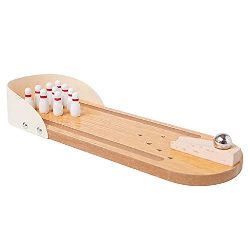 Mini Holzspielzeug Bowlingkugel Kinder Bowlingspielzeug Erwachsene Fingerspitze Desktop-Spielzeug Stahlkugel Brettspiel Partyspiel (Color : Wood Color, Size : 29.7 * 4.5cm)