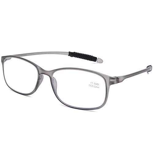DOOViC Blaulichtfilter Computer Lesebrille Eckig Rahmen Grau Brille mit Stärke Lesehilfe/Sehhilfe für Damen/Herren 2,0