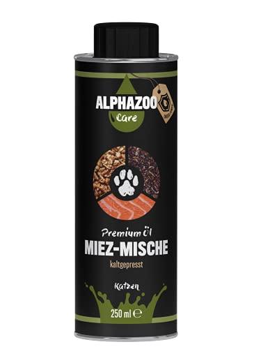 alphazoo Miez-Mische Futteröl Katzen, Stärkung Immunsystem, Premium Futter-Zusatz kaltgepresst, Lachsöl Vitamine, Haut- und Fellgesundheit, natürliches Fischöl Fell-Pflege Omega-Öl, ohne BPA