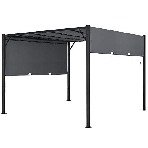 ArtLife Pavillon Cavo 3 × 4 m grau – Pergola mit LED Beleuchtung & Flachdach – Sonnenschutz Garten Terrasse – Sonnendach Überdachung Stahl-Gestell
