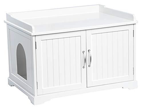 UPP Katzenschrank XXL I Hundebett & Katzenklo diskret aufbewahren I Hundehütte Indoor, Katzenhöhle & Schrank kombiniert I Premium Haustier Zubehör I Massiv gefertigt aus FSC-zert. Holz