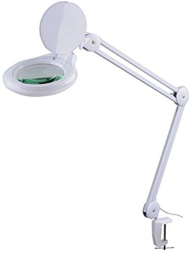 Komerci KML-9003-3D-LED Kaltlicht Lupenleuchte Lupenlampe, 125mm 3-D Linse, 14W mit Dimmer Kosmetik, inkl. Tischklemme