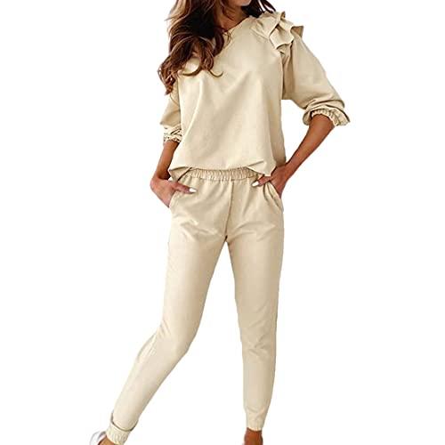 Damen Zweiteilige Nachtwäsche Rüsche Dekoration Rundhals Langarm Oberteil Lang Hose Schlafanzug Damen Trainingsanzug Pyjama Set Loungewear mit Taschen S