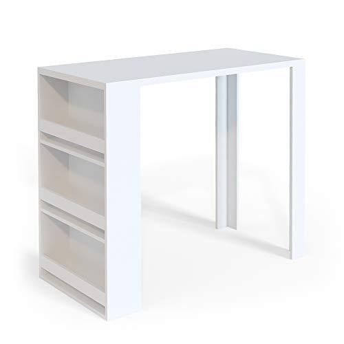 Vicco Bartisch Bar Weiß Anthrazit Tresen Bartresen Stehtisch Tisch Tresentisch Bistrotisch Küche mit 3 extra Fächern (Weiß)