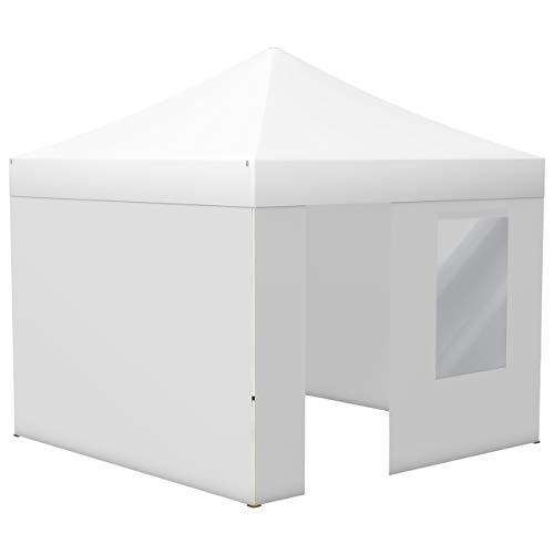 Vispronet® Faltpavillon Eco 3x3 m ✓ 4 Zeltwände (3 Vollwände, 1 Wand mit Tür & Fenster) ✓ Scherengittersystem ✓ inkl. Dach mit Volant (Weiß)