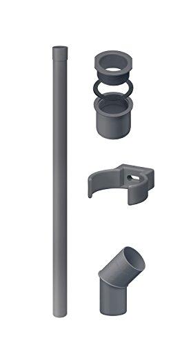 Fallrohr/Regenrohr Set DN 50 INEFA Anthrazit 2m, Kunststoff, Komplettset für Gartenhaus, Zubehör Fallrohrklappe