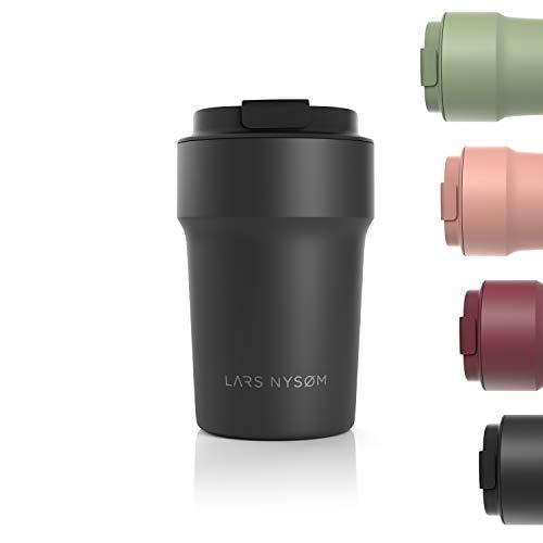 LARS NYSØM Thermo Kaffeebecher-to-go 380ml | BPA-freier Travel Mug 0.38 Liter mit Isolierung | Auslaufsicherer Edelstahl Thermobecher für Kaffee und Tee unterwegs | Teebecher (Schwarz)