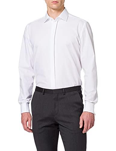 Seidensticker Herren Modern Kent Party Businesshemd, Weiß (Weiß 01), 36