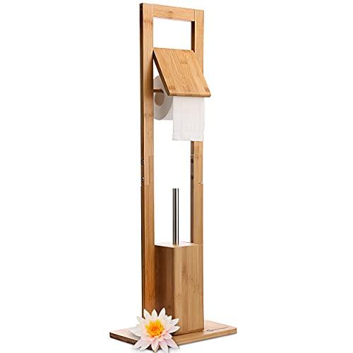 HEIMWERT WC Garnitur Toilettenpapierhalter Klobürste - Premium Bambus Holz mit Toilettenpapierhalter stehend und Toilettenbürste - Klopapierhalter stehend mit WC Bürste Badezimmer Set Bad Zubehör