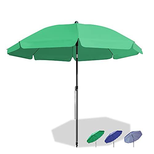 Magiea Sonnenschirm Strandschirm, Ø 180 cm Gartenschirm Marktschirm, Terrassenschirm mit Bodenhülse & Drehstange & Schutzhülle, Grün rund UV50+ Schutz Sonnenschutzschirm