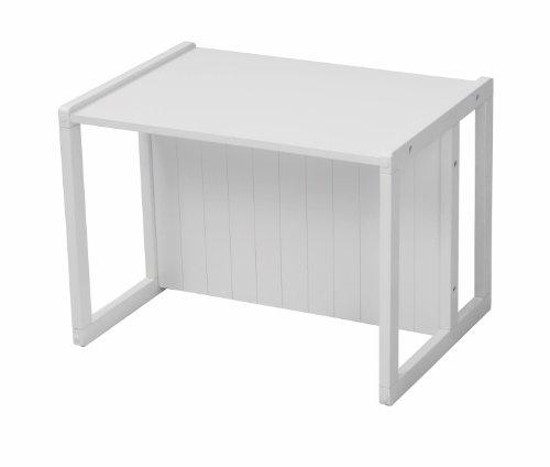 roba Sitzbank im Landhausstil, weiß, durch Drehen in 2 Sitzhöhen oder als Kindertisch verwendbar