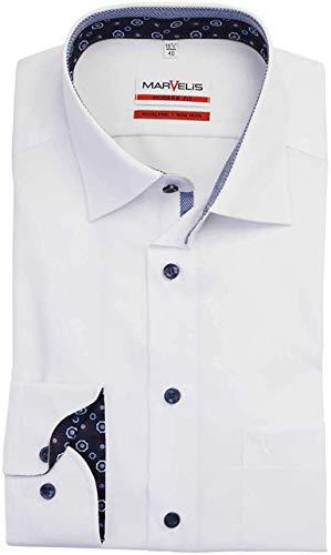 Marvelis Modern Fit Hemd Langarm New Kent Kragen weiß Größe 42