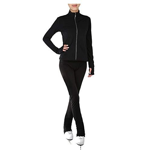 Wasserdicht Eiskunstlauf-Trainingsoutfit Damen Mädchen Rollschuh eng Jacke Gamaschen Trainingsbekleidung Einfarbig,Schwarz,XXXL
