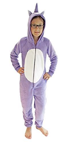 Kinder Karnevalskostüm Unisex Jumpsuit Overall Onesie Schlafanzug in tollen Tier Motiven, Größe:152, Farbe:Einhorn