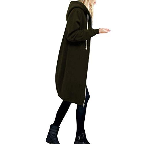 OverDose Damen Herbst Winter Outing Stil Frauen Warm Reißverschluss Öffnen Clubbing Dating Elegante Hoodies Sweatshirt Langen Mantel Jacke Tops Outwear Hoodie Outwear(Armeegrün,EU-48/CN-4XL )