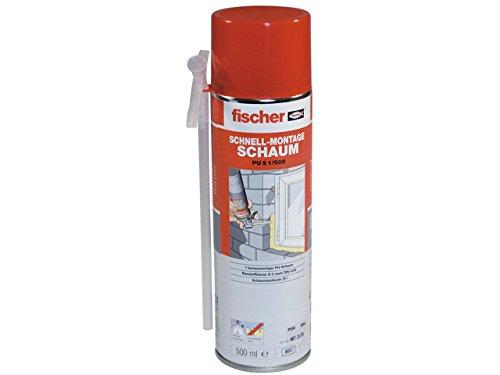fischer Schnell-Montageschaum PU S 500, Bauschaum für Verfüllung, Dämmung & Isolierung, PU-Schaum inkl. Adapter für sofortigen Einsatz, 500 ml
