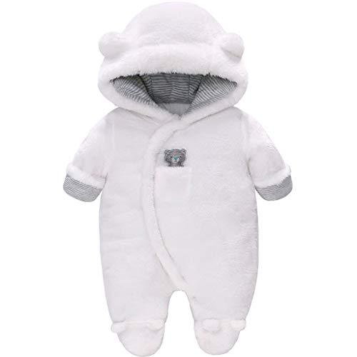Vine Baby Schneeanzüge Winter Fleece Overall mit Kapuze Mädchen Jungen Strampler Footed Jumpsuit, Weiß 6-9 Monate