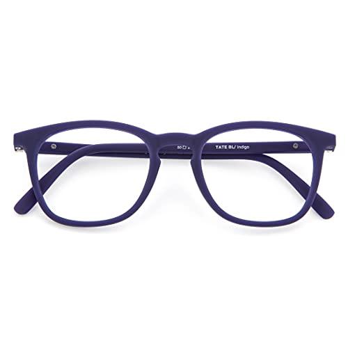 DIDINSKY Blaulichtfilter Brille für Damen und Herren. Blaufilter Brille mit stärke oder ohne sehstärke für Gaming oder Pc. Gummi-Touch-Tempel und Blendschutzgläser. Indigo +1.5 – TATE