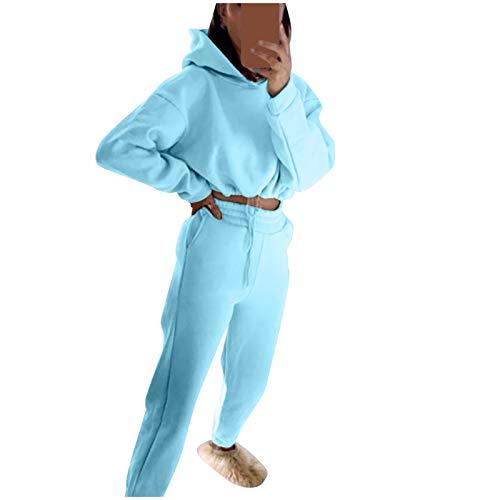 Lazzboy Jogginganzug Damen Kapuzenpullover Frauen Einfarbig Langarm Hoodie Hose Sweatshirt Sportanzug Traingsanzug Freizeitanzug Bekleidungsset Sport Jogginghose ( Blau,S )