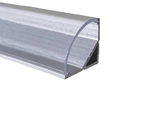 LED Alu Profile Eckprofil eloxiert für 16mm LED-Streifen (z.B. für Philips Hue Led Strip) mit einklickbarer KLARER Abdeckung 200 cm - Spree