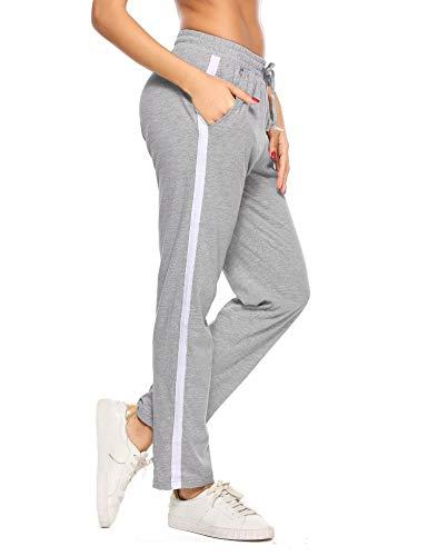 Aibrou Damen Jogginghose Sporthose Freizeit Hose Baumwolle Lang für Jogging Laufen Fitness Traininghose mit Streifen Grau XL