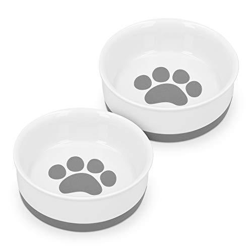 Navaris 2X Hundenapf Futternapf Fressnapf - Futterschüssel Napf Set für Hunde Katzen - Näpfe mit Silikon Boden - spülmaschinenfest rutschfest