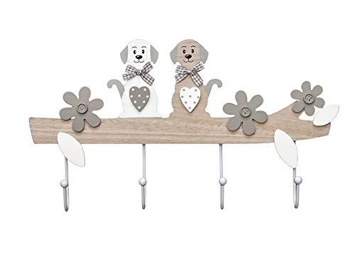 SPOTTED DOG GIFT COMPANY Hund Kleiderhaken Garderobenhaken Hakenleiste - Dekorative Wandhaken Holz im Hundedesign, 4 Haken Hausdekoration für Wand oder Tür