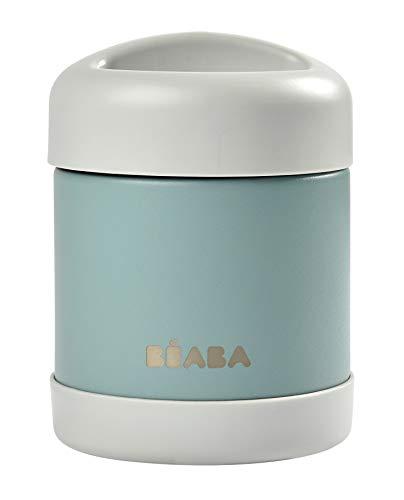 BÉABA - Isolierender Thermobehälter für Mahlzeiten - Für Babys und Kinder - 100 % luftdicht - Edelstahl - Hält mehr als 5 Stunden lang kalt/warm - Doppelwandig - 300 ml - Grau/Grün