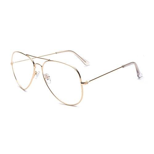 ALWAYSUV klassische Brille Metallgestell Brillenfassung Vintage Brille Dekobrillen