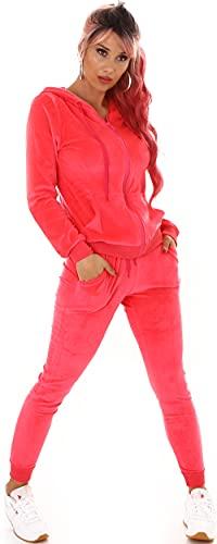 Jela London Damen Nicki Hausanzug Jogginganzug Velours Samt Jogginghose Freizeithose Kordel Tunnelzug Jacke, Neon-Pink 36 38 (M)
