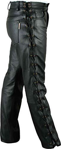 Fuente Schnürlederhose mit seitlich Schnürung- Biker Lederhose Herren Damen Bikerjeans -Schnür Lederjeans Motorrad Schnürjeans Schnürhose aus Rind Mild echt Leder Schwarz (56 EU)