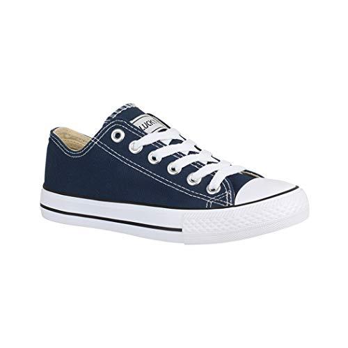 Elara Lucky-Z Unisex Sneaker Textil Turnschuh Low top Chunkyrayan 089-A-Blau-40