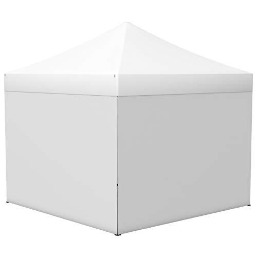 Vispronet® Faltpavillon Eco 3x3 m ✓ 4 Zeltwände, Vollwand ✓ Scherengittersystem ✓ inkl. Dach mit Volant (Weiß)