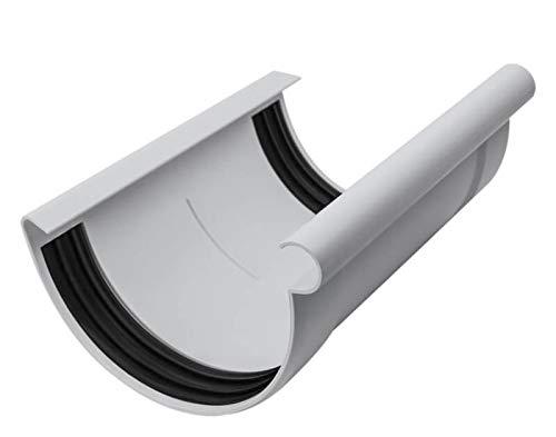 INEFA Rinnen-Verbindungsstück halbrund Grau NW 125 - Kunststoff, Verbinder für Regenrinne, Rinne, Dachrinnen, Dachrinnenverbinder, Rinnen Zubehör, Rinnenverbinder