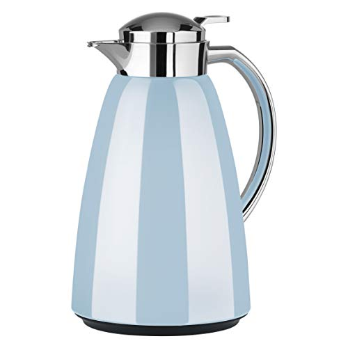Emsa Campo Isolierkanne F4130400 | 1L Füllmenge | Quick Tip Verschluss | 100% dicht | 12h warm, 24h kalt | Premium Edelstahl | Einfache Reinigung | Pastell-Blau