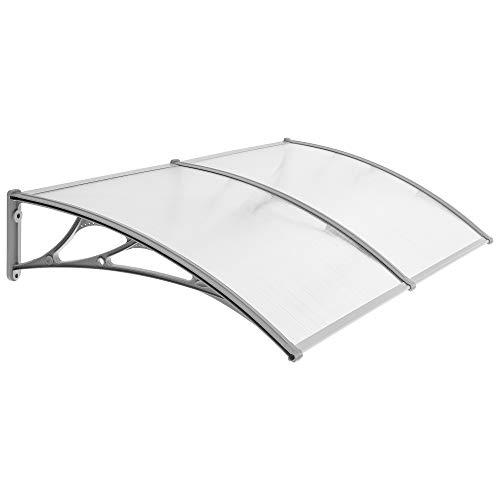 SONGMICS 155 x 96 cm Vordach, Überdachung, 5 mm dicke Polycarbonatscheiben, Regenschutz, transparent-grau GVH158
